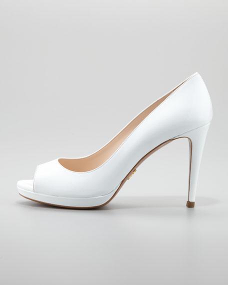 Patent Peep-Toe Pump, White
