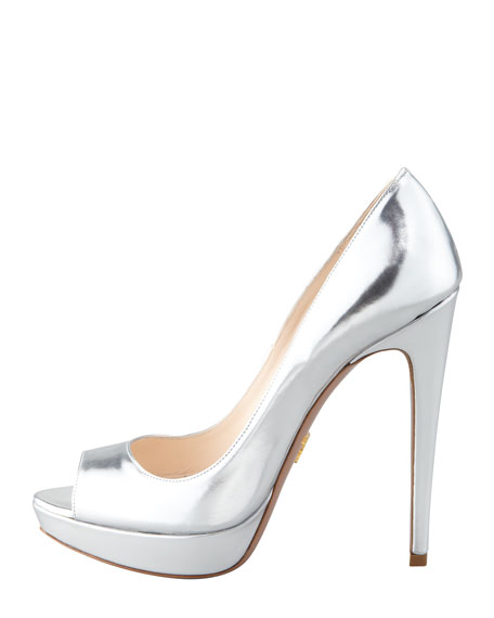 Metallic Peep-Toe Pump, Silver