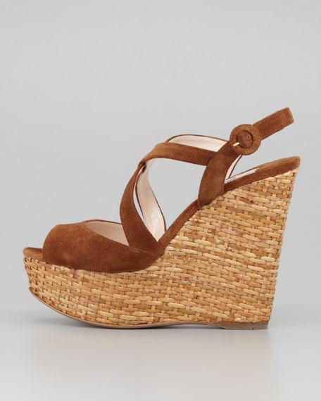 Suede Crisscross Wicker Wedge Sandal, Tobacco
