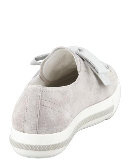 Metallic Cap-Toe Suede Platform Sneaker, Gray