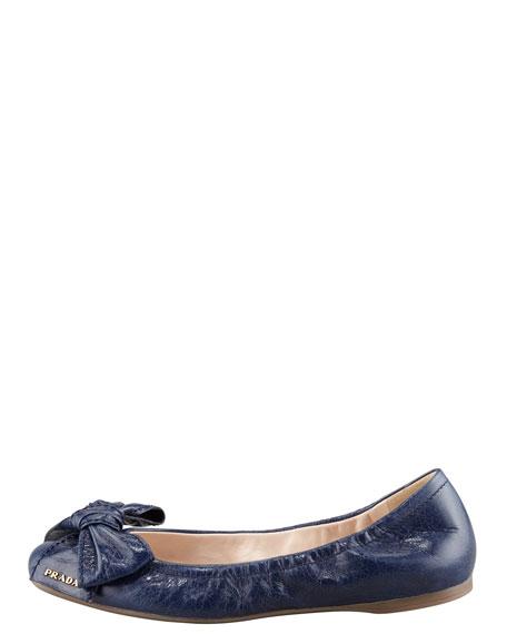 Leather Logo Bow Scrunch Ballet Flat, Blue
