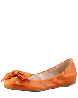 Prada Leather Logo Bow Scrunch Ballet Flat, Papaya