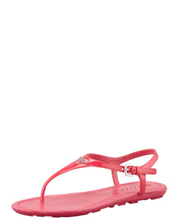 Prada Patent Leather Logo Thong Sandal, Fuchsia