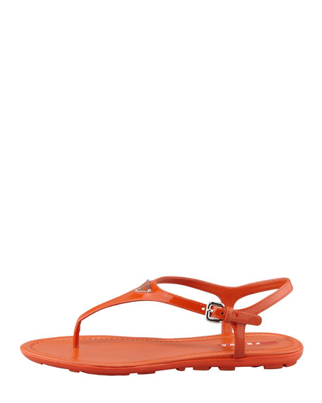 Patent Leather Logo Thong Sandal, Orange