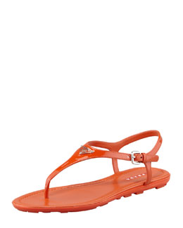 Prada Patent Leather Logo Thong Sandal, Orange