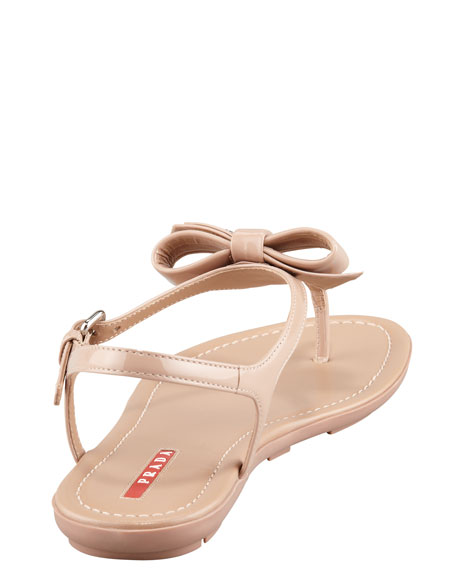 Patent Leather Bow Thong Sandal, Nude