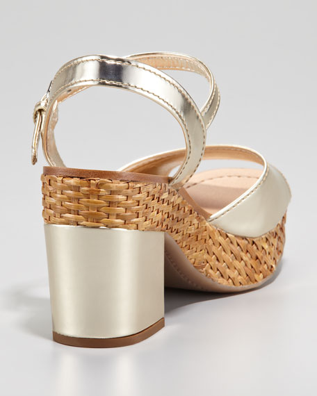 Metallic Leather Wicker Platform Sandal