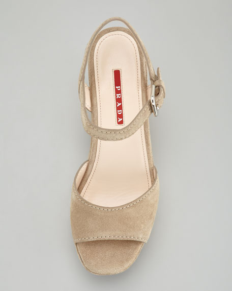 Suede Espadrille Trim Wedge Sandal, Desert