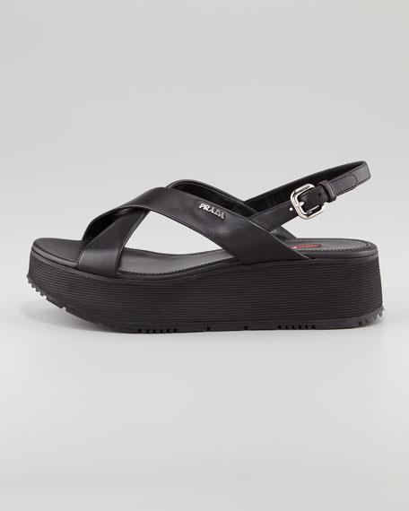 Leather Crossover Platform Sandal, Black