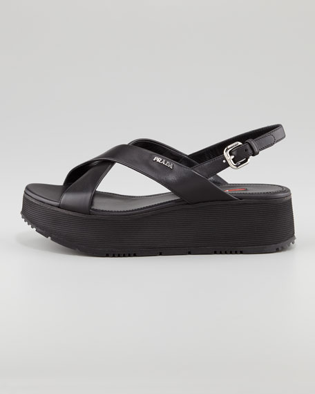 ff83e1fb1cbc Prada Leather Crossover Platform Sandal, Black
