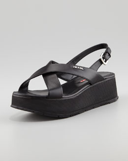 Prada Leather Crossover Platform Sandal, Black