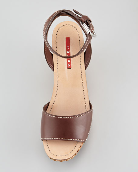 Ankle-Wrap Wicker Wedge Sandal, Teak
