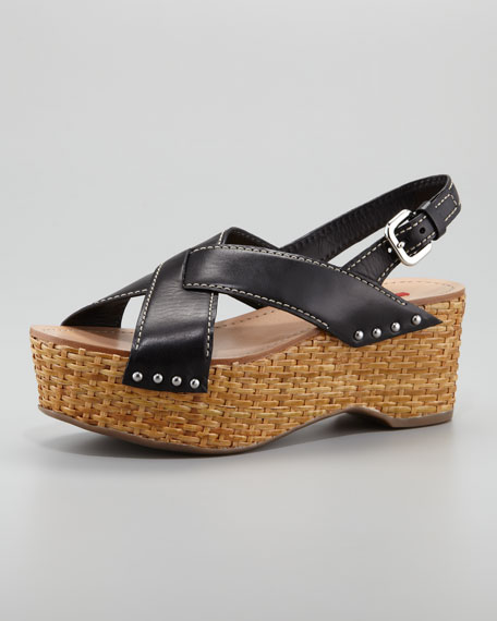 Crisscross Wicker Wedge Sandal, Black