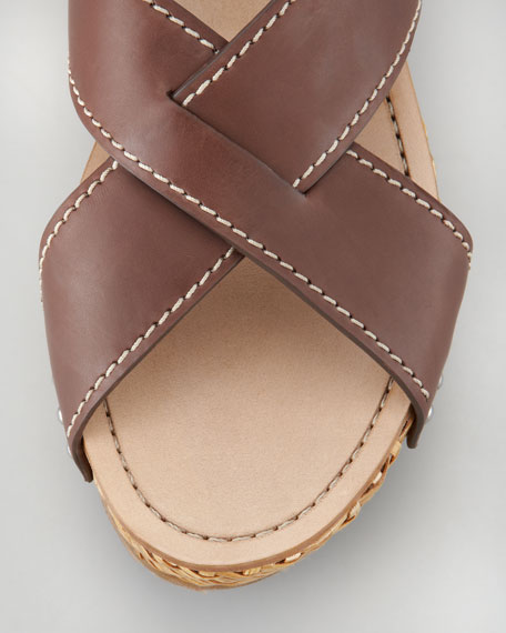 Crisscross Wicker Wedge Sandal