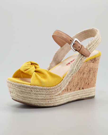 Suede Knot Cork Wedge, Yellow