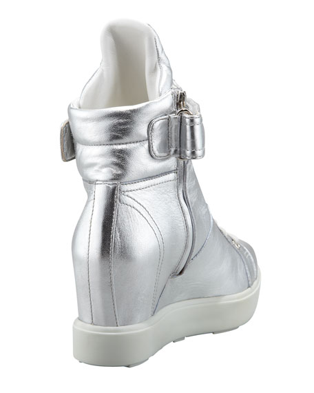 Metallic Hi-Top Sneaker, Silver