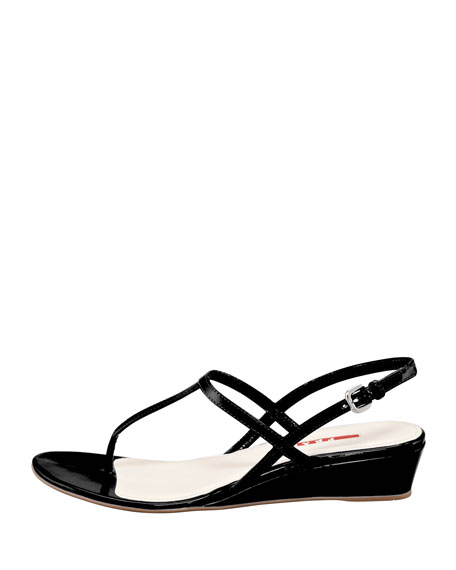 Patent Halter Demi Wedge Sandal, Black