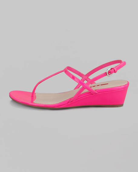Fluorescent Patent Wedge Thong Sandal
