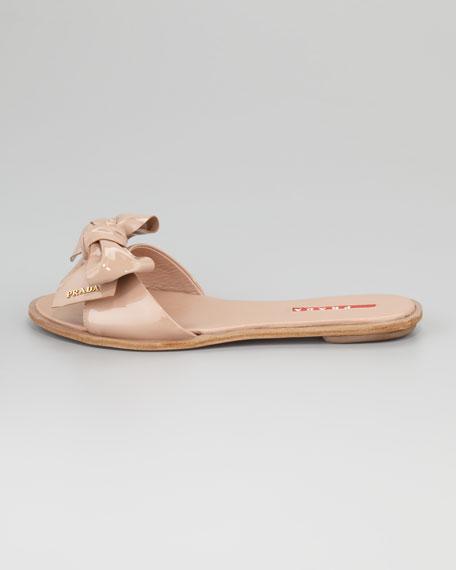 Patent Leather Bow Slide Sandal