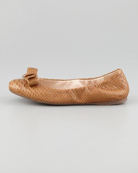 Metallic Python-Embossed Ballet Flat