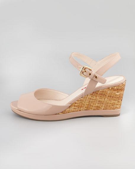 Patent Open-Toe Wicker Wedge Sandal, Nude