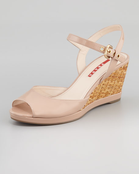 Patent Open-Toe Wicker Wedge Sandal, Nude