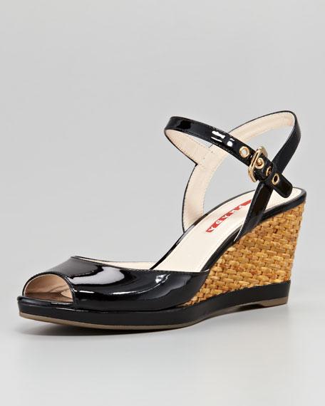 Patent Open-Toe Wicker Wedge Sandal, Black