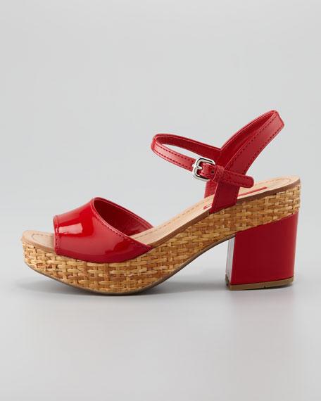 Patent Wicker Platform Sandal, Red