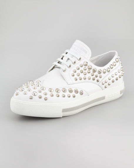 Studded Lace-Up Sporty Oxford, White