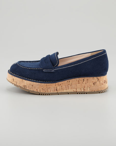 Cork-Platform Penny Loafer, Navy