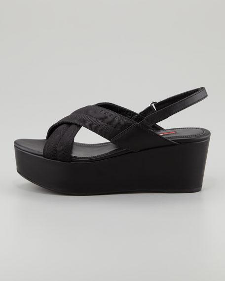 789a4393a451 Prada Grosgrain Crossover Wedge Sandal
