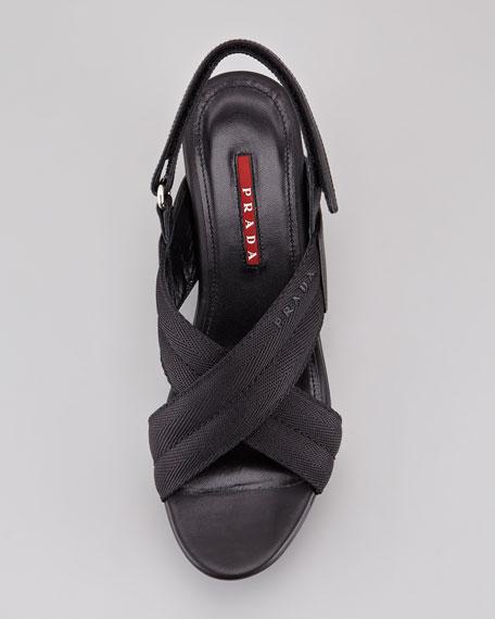 Grosgrain Crossover Wedge Sandal, Black