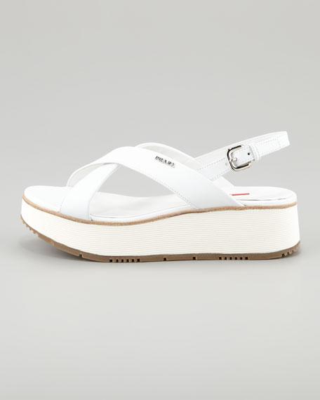 Leather Crossover Platform Sandal, White