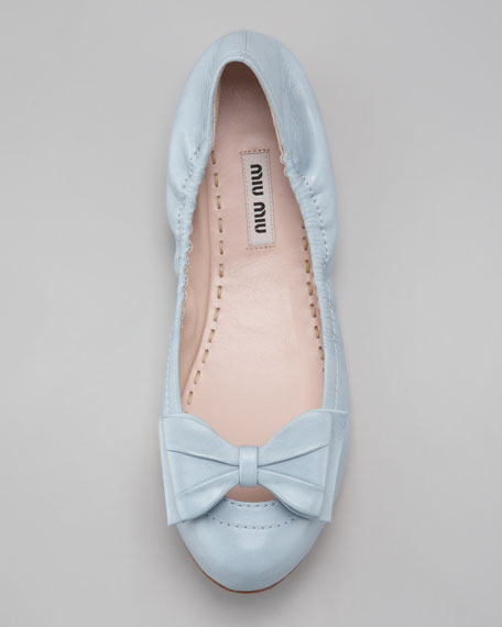 Ballerina Bow Flat, Light Blue