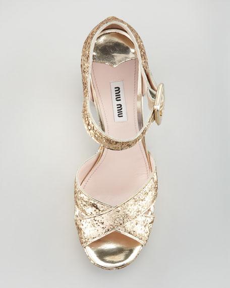 Glitter Crisscross Mary Jane Sandal, Gold