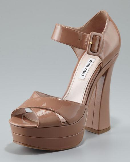 Patent Flare-Heel Sandal, Cammeo