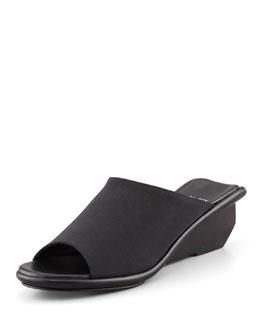 Eileen Fisher Jut Stretch Low-Wedge Slide Sandal, Black