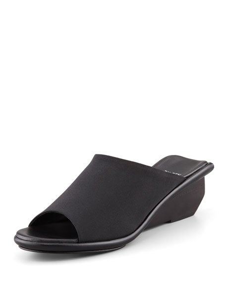 Jut Stretch Low-Wedge Slide Sandal, Black