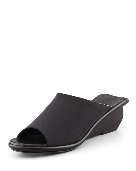 Jut Stretch Low-Wedge Slide Sandal, Black