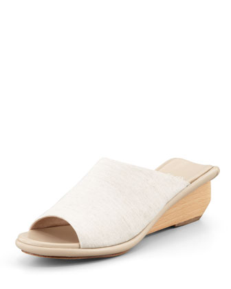 Jut Stretch Low-Wedge Slide Sandal, Linen