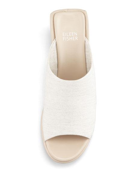 Jut Stretch Low-Wedge Slide Sandal, Linen