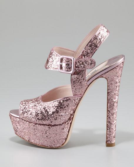 Glittered Peep-Toe Sandal