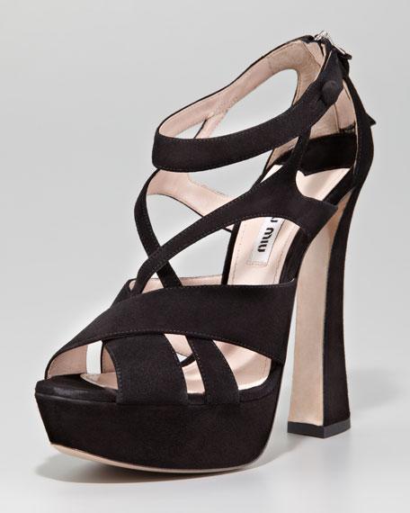 Strappy Suede Zip-Back Sandal, Black