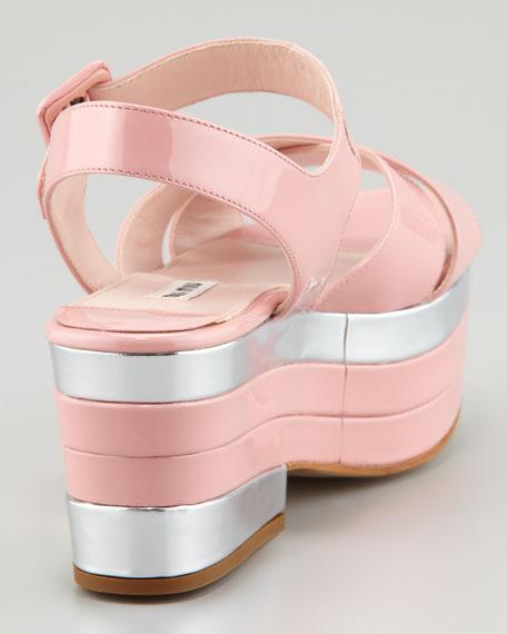 Patent Crisscross Platform Wedge Sandal