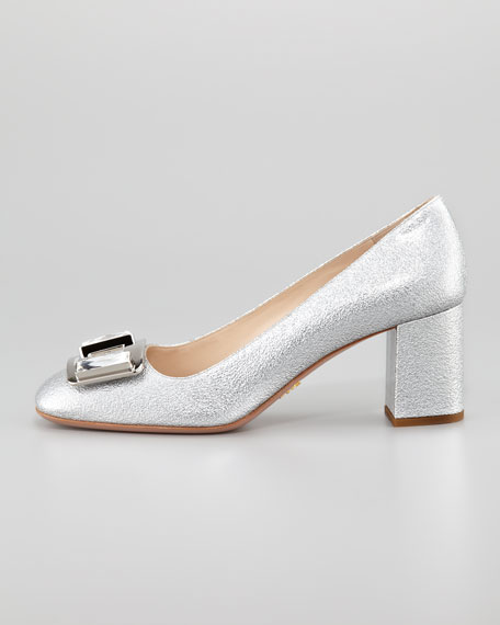 Metallic Ornament Block-Heel Pump, Silver