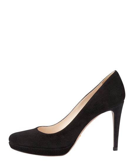 Suede Almond-Toe Pump, Black