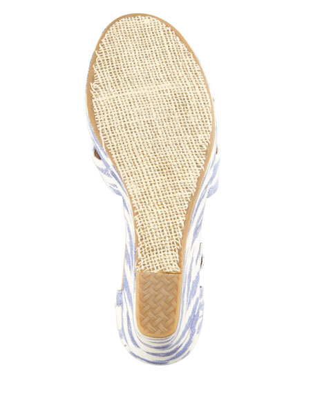 Printed Hemp Strappy Wedge Sandal, Ikat