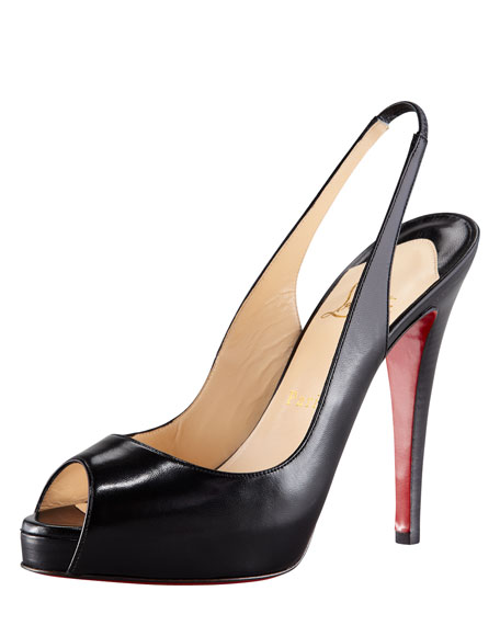 Christian Louboutin No Prive Leather Slingback Red Sole Pump, Black