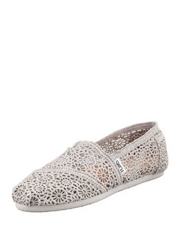 TOMS Crochet Slip-On, Silver