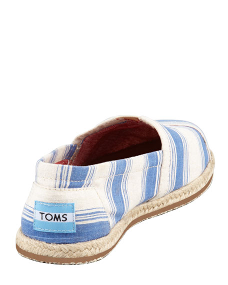 Umbrella-Stripe Espadrille Slip-On, Navy